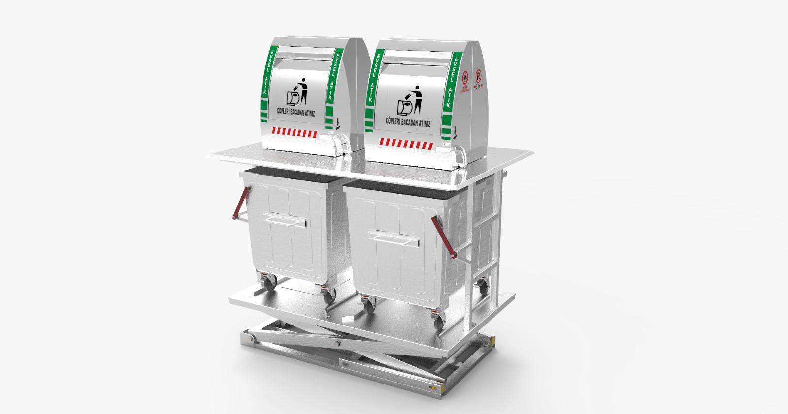 2200 Litre Konik Bacalı Jaklı Yeraltı Çöp Konteyner Sistemi