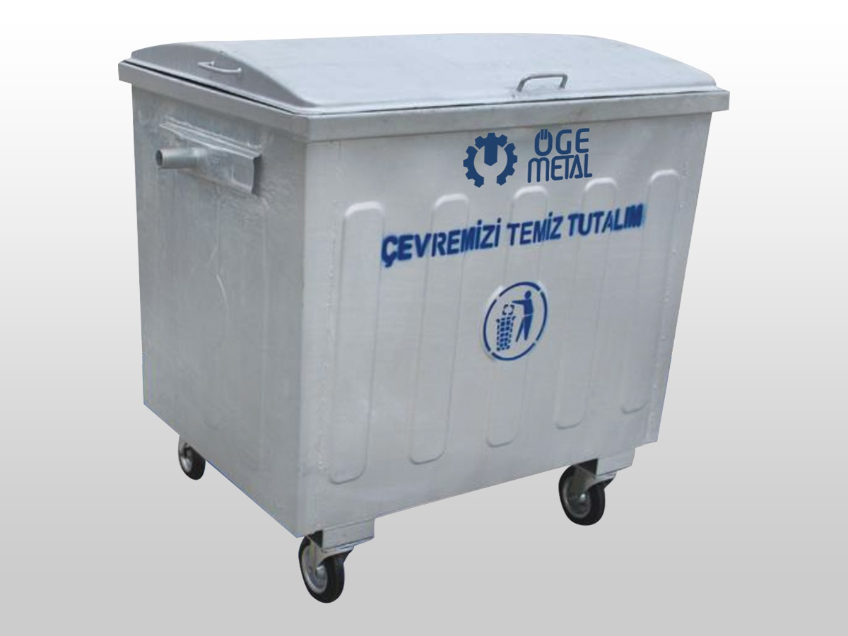 1100 Lt. Hot Dip Galvanized Waste Container With Semi Dome Lid